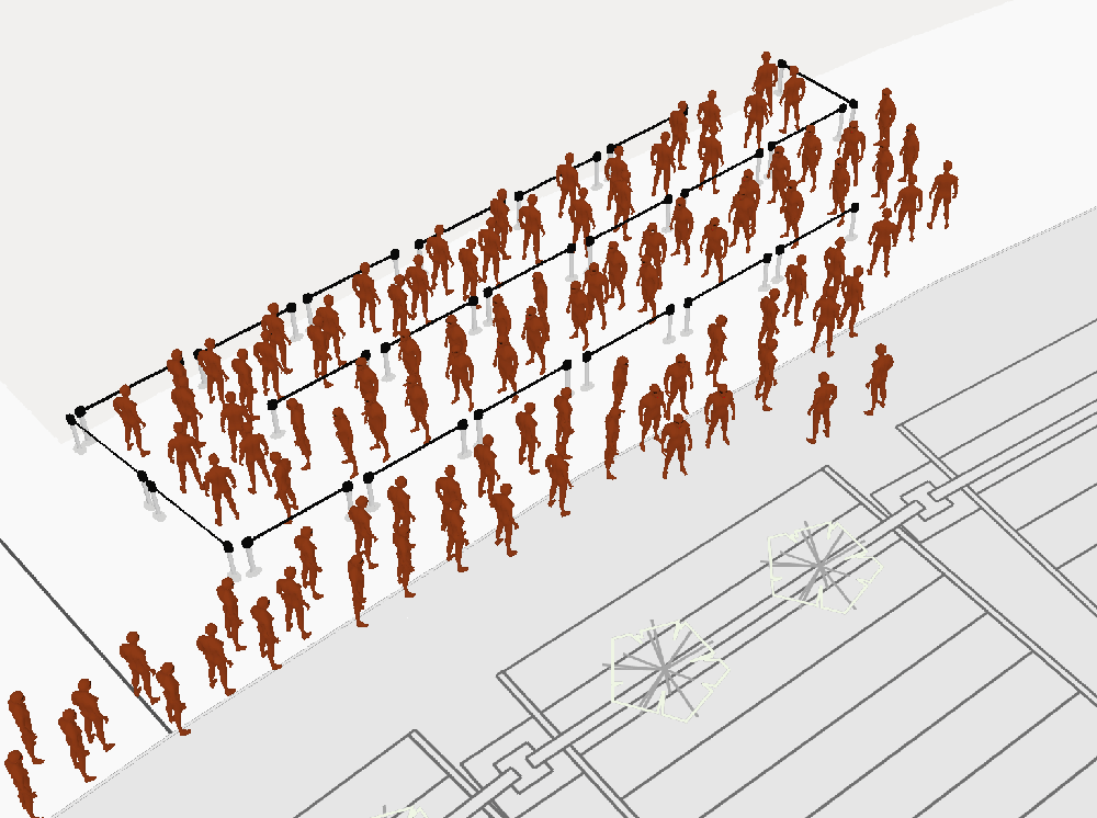 Screenshot of the Iventis software showing a 3-D visualisation of queue barriers and people queuing.