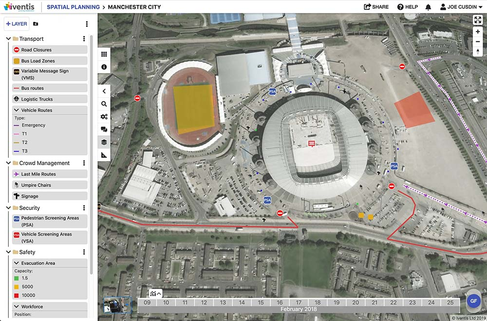 Screenshot showing an overhead satellite image of the Etihad Stadium in Manchester. The screenshot shows operation plans, such as road closures, on the satellite image.