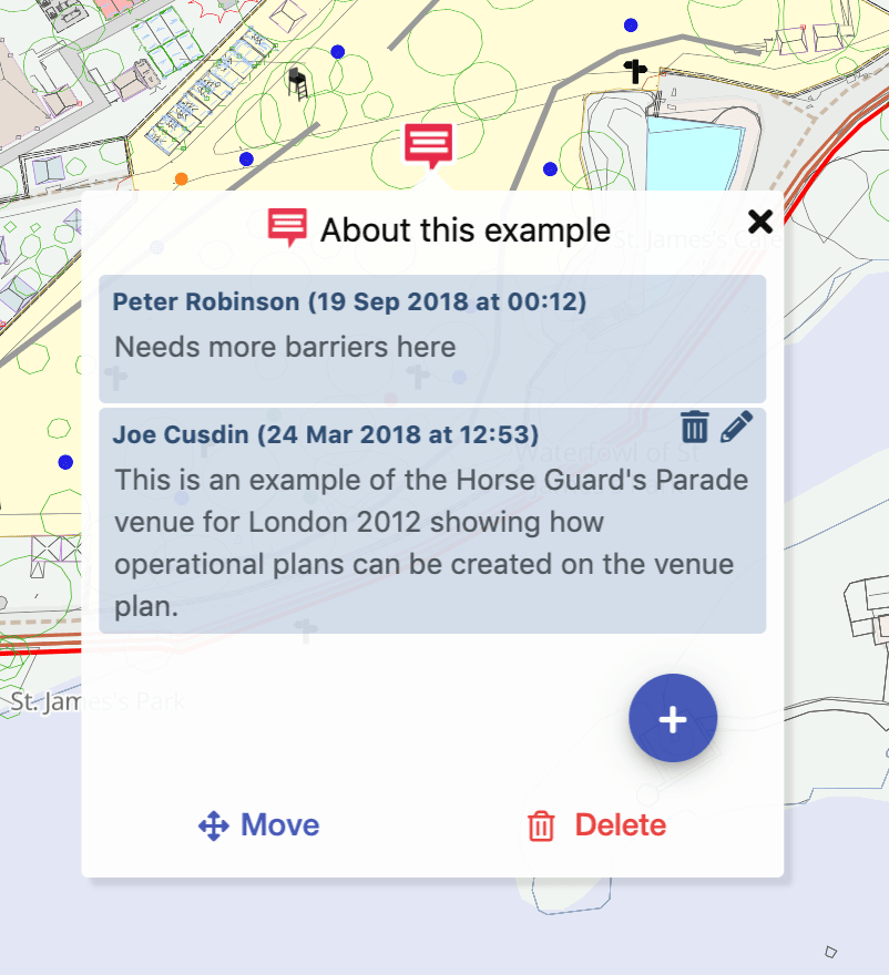 Screenshot of Iventis showing a comment and discussion pop-out box where people are discussing choices of barriers on a site plan.