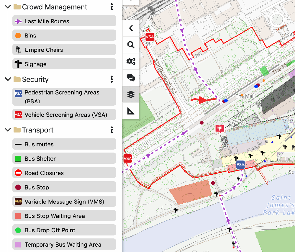 A screenshot of the Iventis software with an event being planned on The Mall in London. Relevant planning information is overlaid onto a detailed map. A key is on the left-hand side of the screen showing the range of tools available.