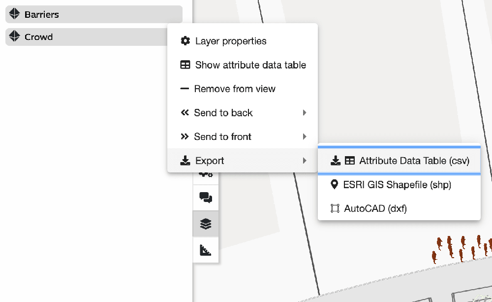 Screenshot of the export feature on Iventis showing that data can be exported either in a C.S.V. file, a CAD file or a G.I.S. file.