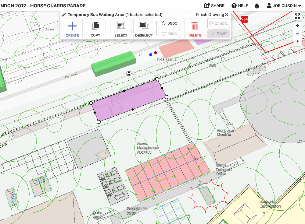 Screenshot of Iventis showing the creation of a temporary bus waiting area.