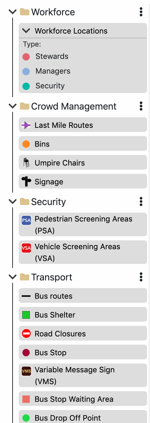 Screenshot showing a navigation bar that lists under folders and tabs showing different stakeholder areas, such as, Crowd Management, Security, Transport.